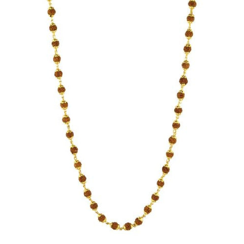 108 Rudraksha with Gold Plated Caps Necklace