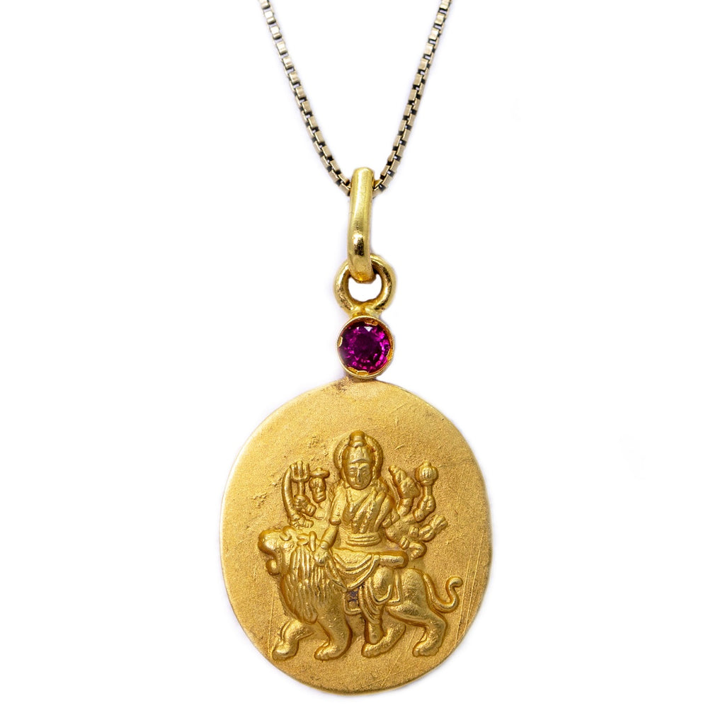 14 kt gold Durga Istha Devata Pendant Necklace with Ruby Mount - The Sattva Collection