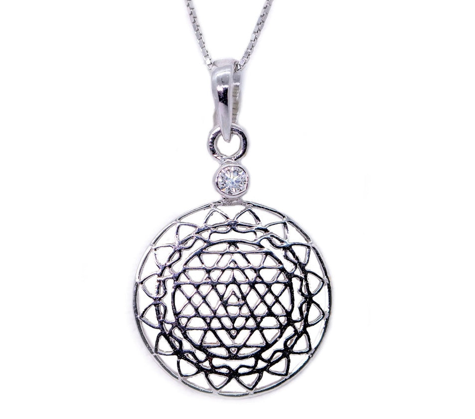 14kt White Gold Sri Yantra Pendant Necklace with Diamond Mount - The Sattva Collection