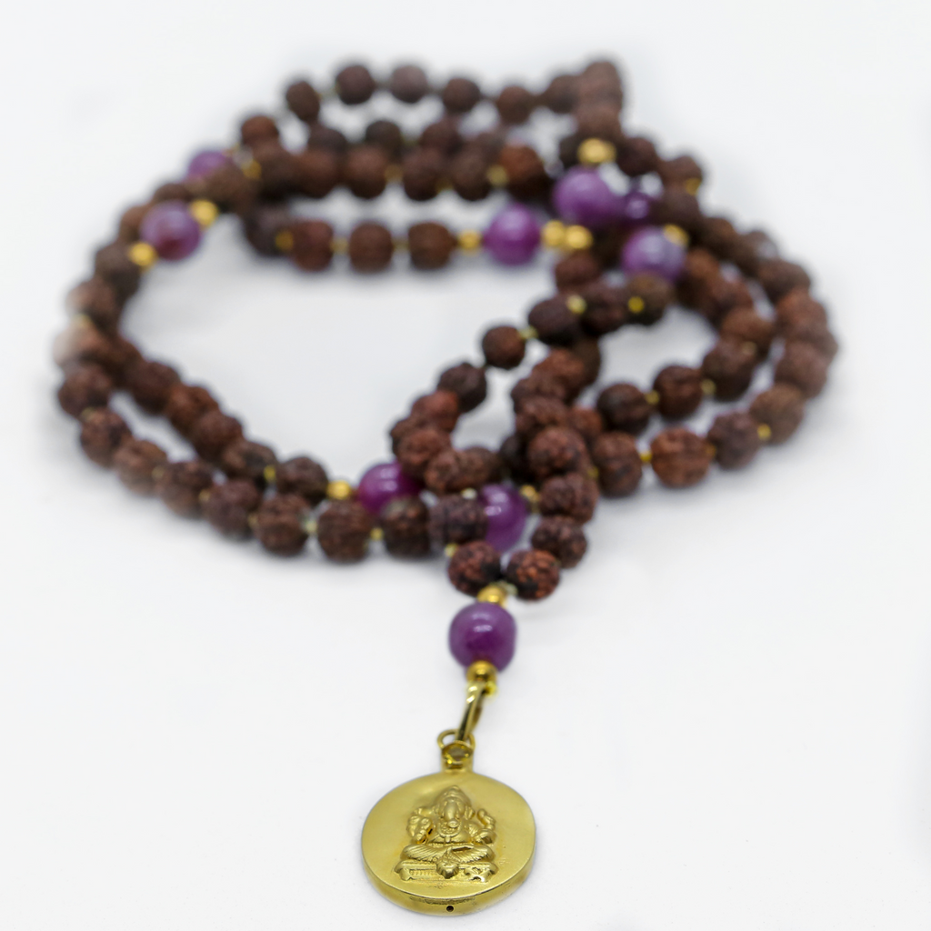 Ganesha Istha Devata Japa Mala with Ruby Counterbeads - The Sattva Collection