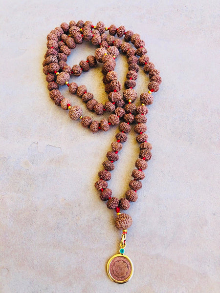 7 & 8 Mukhi Rudraksha Mala with 14kt Gold Sri Yantra Pendant - The Sattva Collection