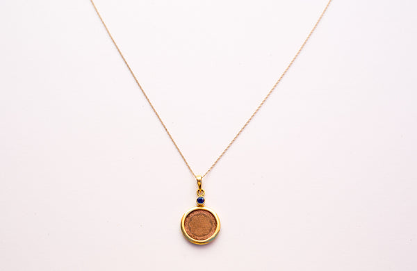 "Copper with 14kt Gold Mounted with Blue Sapphire Sri Yantra 18"" Pendant Necklace - The Sattva Collection"