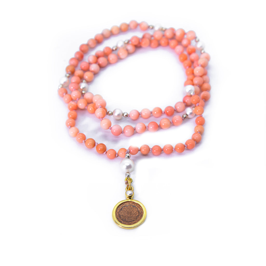 Sri Yantra Japa Mala- Pink Coral & Pearl - The Sattva Collection