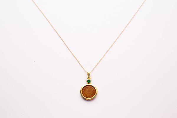 "Copper with 14kt Gold Emerald Mount Sri Yantra 18"" Pendant Necklace - The Sattva Collection"