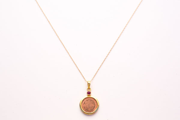 "Copper with 14Kt Gold Mounted with Ruby Sri Yantra 18"" Pendant Necklace - The Sattva Collection"