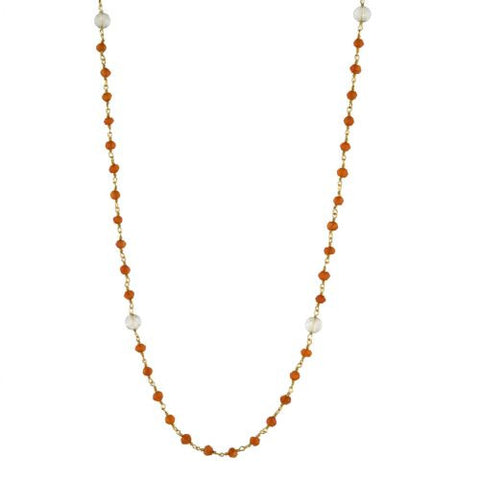 Carnelian and Crystal Counter Bead Necklace