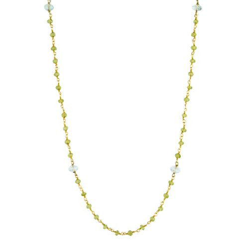 Aquamarine and Peridot Counter Bead Necklace - The Sattva Collection