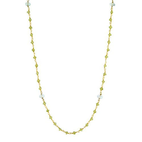 Aquamarine and Peridot Counter Bead Necklace