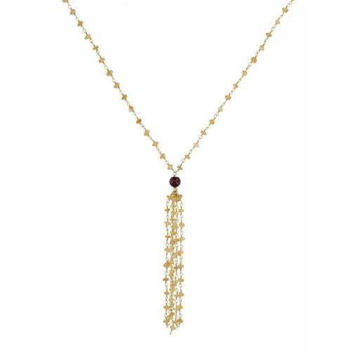 Citrine Tassle Necklace with Garnet Guru Bead