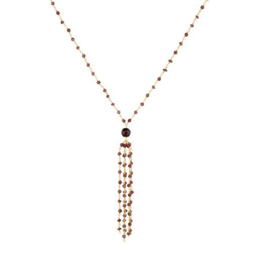 Garnet with Tassle Necklace