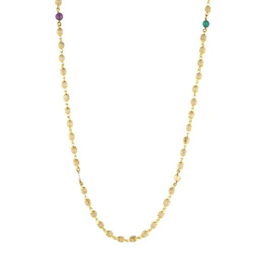 Tulsi with Gold Caps and Nine Planet Gemstones Necklace - The Sattva Collection