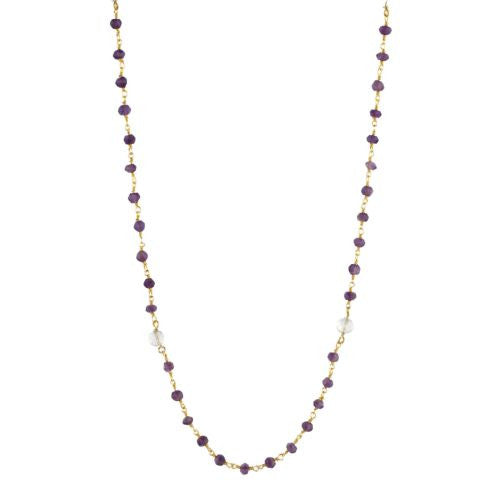 Amethyst and Crystal Counter Bead Necklace