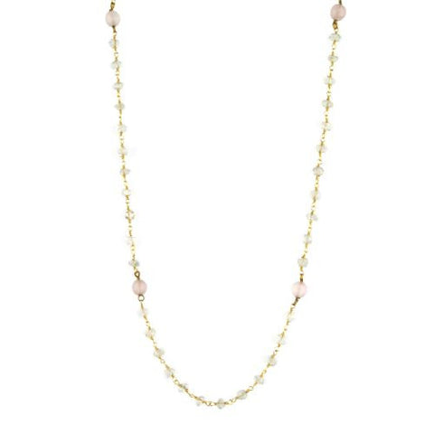 Aquamarine and Rose Quartz Counter Bead Necklace