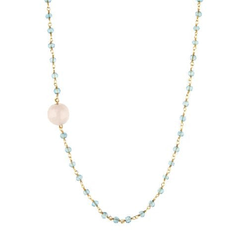Aquamarine with Rose Quartz Guru Bead Necklace