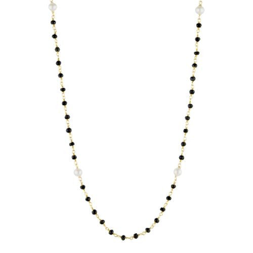 Black Onyx and Pearl Counter Bead Necklace