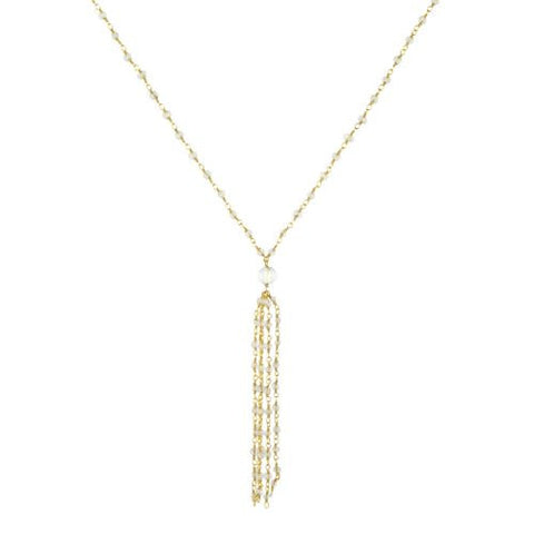 Crystal with Tassle Necklace