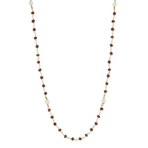 Garnet and Moonstone Counter Bead Necklace