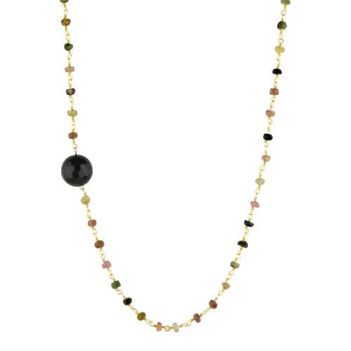 Tourmaline with Black Onyx Guru Bead Necklace