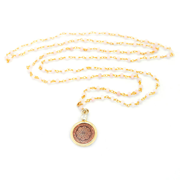 Rose Quartz Sri Yantra Necklace - The Sattva Collection