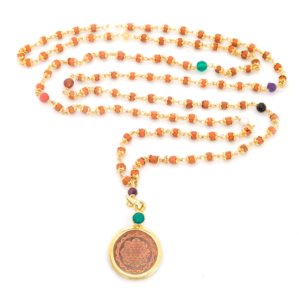 9 Planet With Rudrani Sri Yantra Pendant Necklace- Special Edition - The Sattva Collection