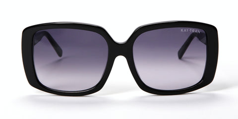 Kay Tran | Cecilia Polished Black Sunglasses - Eyewear Envy - 1