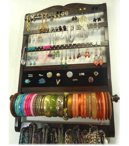 Deluxe Jewelry Organizer Cocoa Brown Oak, Earring Organizer, Necklace Bracelet Holder, Wall Hanging