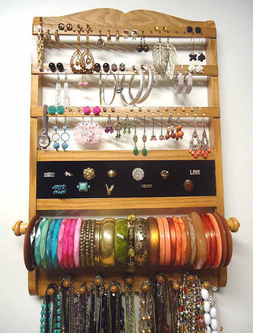 Deluxe Jewelry Holder Organizer Honey Oak