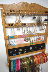 Deluxe Jewelry Holder Organizer Honey Oak - Jewelry Holders For You