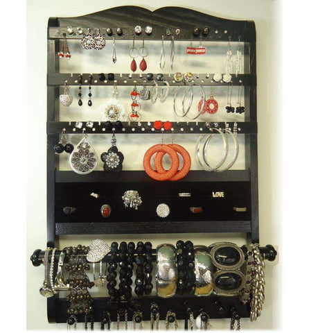 Deluxe Jewelry Holder Organizer Ebony Black Oak