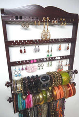 Double Bangle Jewelry Holder Organizer Mahogany Oak - Jewelry Holders For You