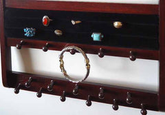 Jewelry Organizer Ring Holder Mahogany Oak - Jewelry Holders For You