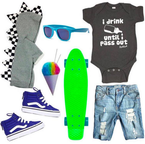 "fun baby boy outfit skateboard sunglasses vans ""pass out"" onesie"