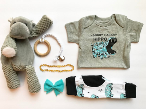 hangry hippos flat lay unique newborn baby outfit
