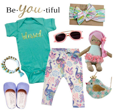 blessed baby onesie with unique items from small shops