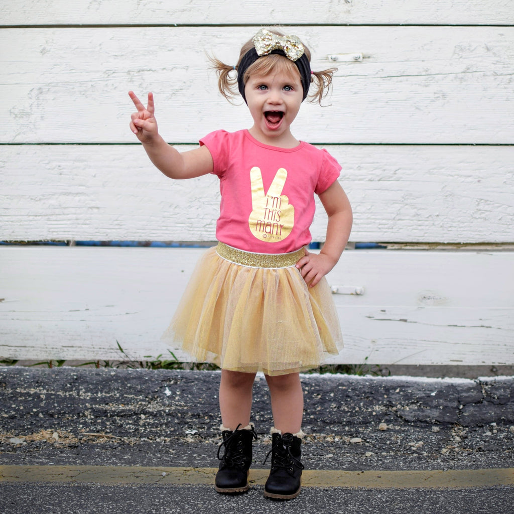 """This Many 2"" Pink T-Shirt & Gold Tutu Outfit"