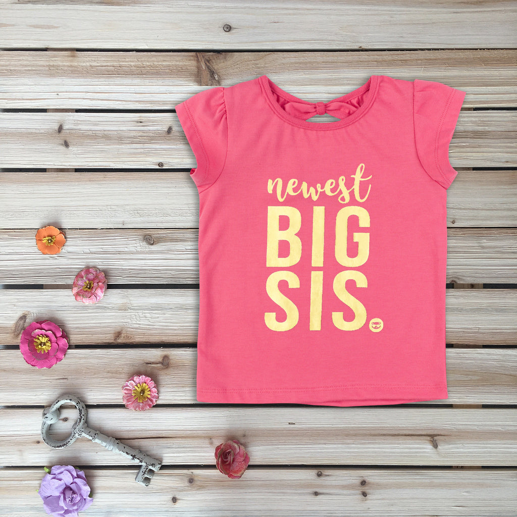 """Newest Big Sister"" Toddler T-shirt, Pink & Gold Foil"