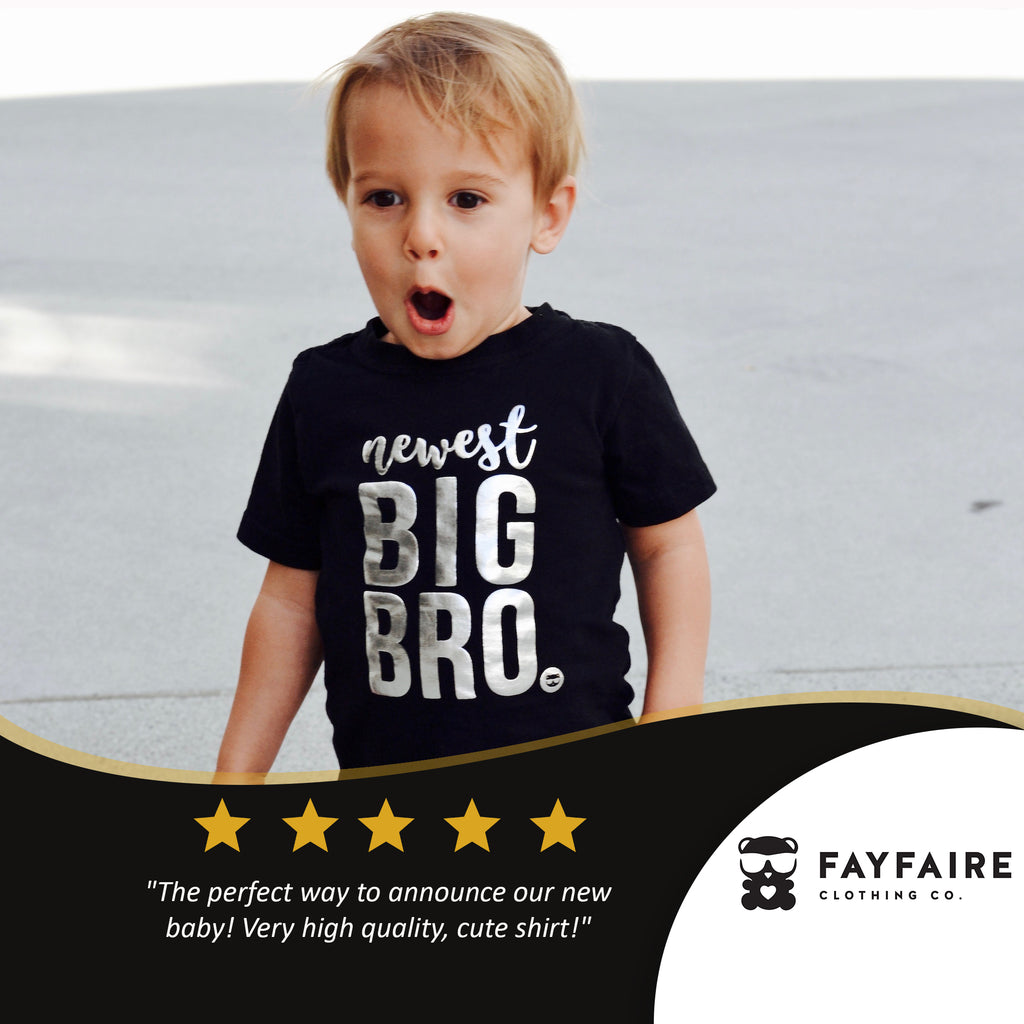 """Newest Big Brother"" Toddler T-shirt, Black & Silver Foil"