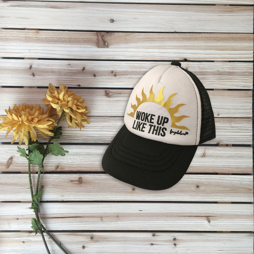 """Woke Up Like This"" Baby & Toddler Trucker Hat, Black & Gold Foil"