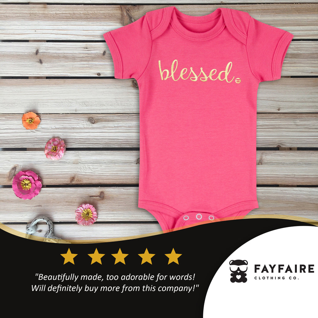 """Blessed"" Baby Bodysuit, Pink & Gold Foil"