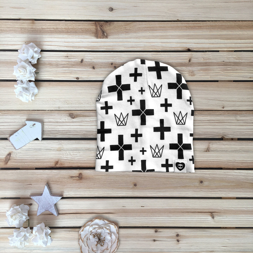 Cross Printed Beanie for Babies