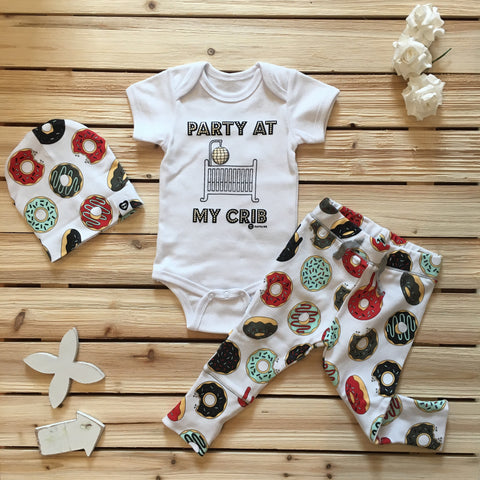 Party Crib Aqua Onesie & Cross Outfit with Beanie