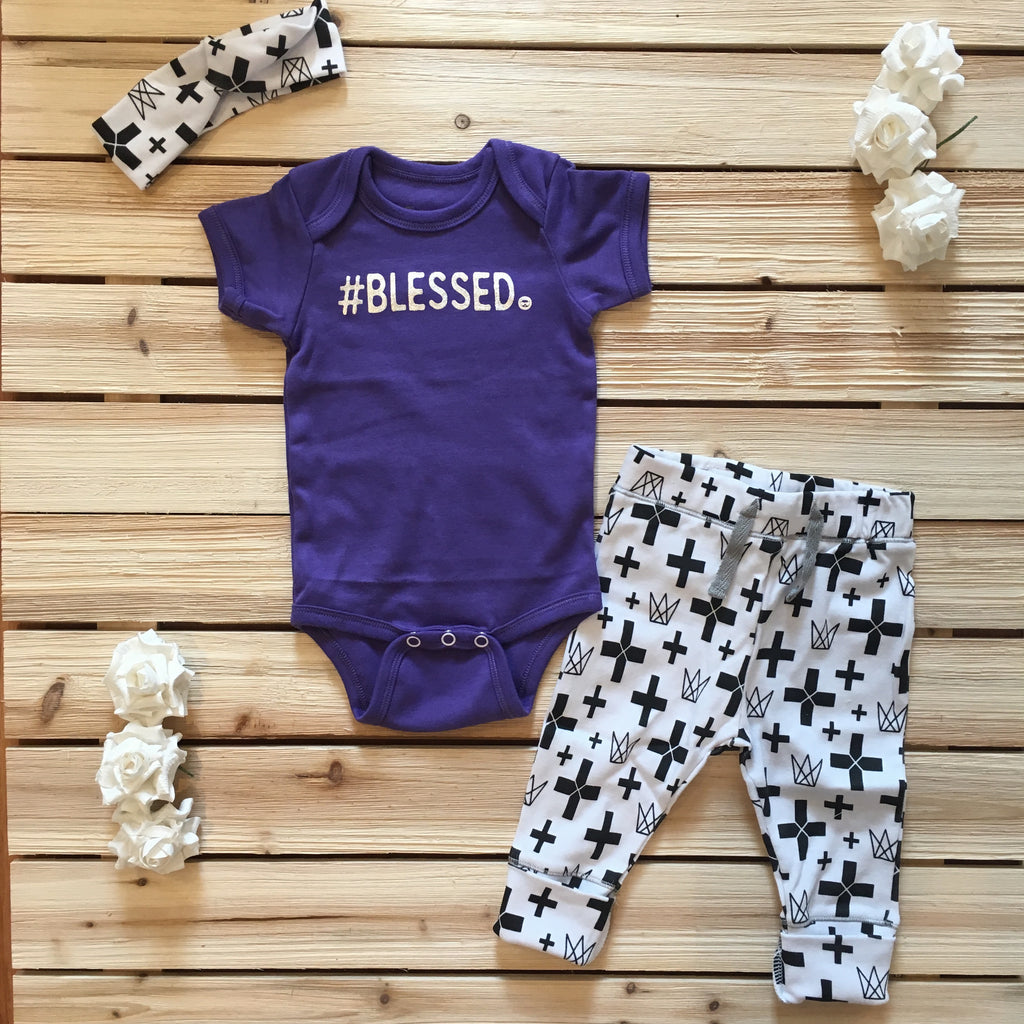 #Blessed Purple Onesie & Cross Outfit with Headband