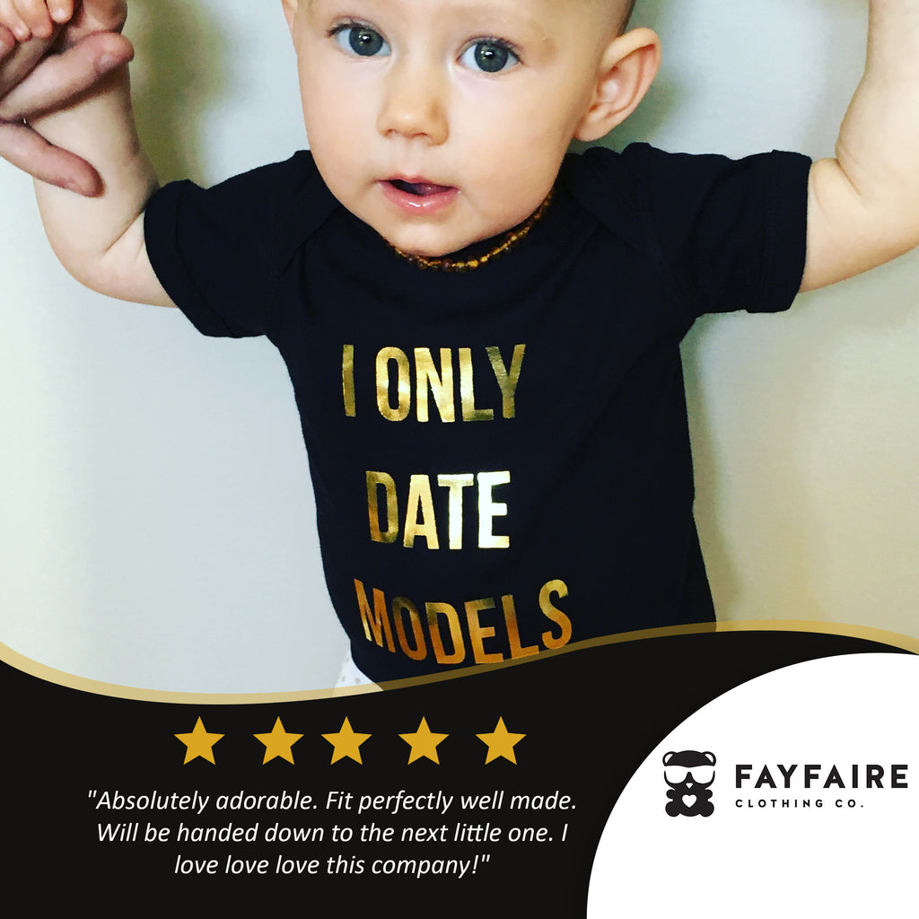 """Only Date Models"" Baby Bodysuit, Black & Gold Foil"