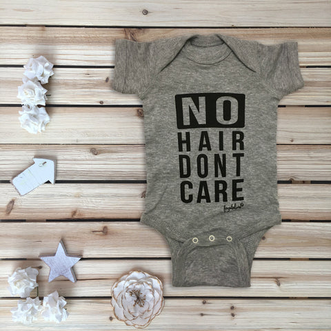 """No Hair Don't Care"" Toddler T-shirt, Heather Grey & Black"