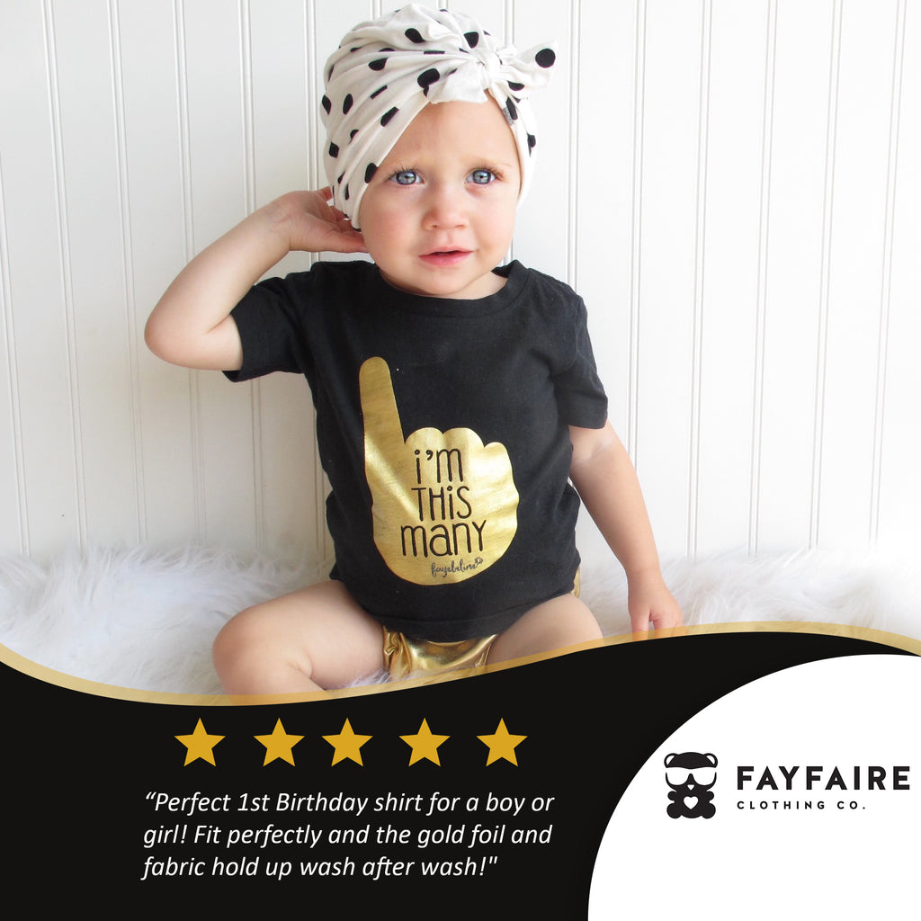 """This Many - 1 yr"" Toddler Birthday T-Shirt, Black & Gold Foil"