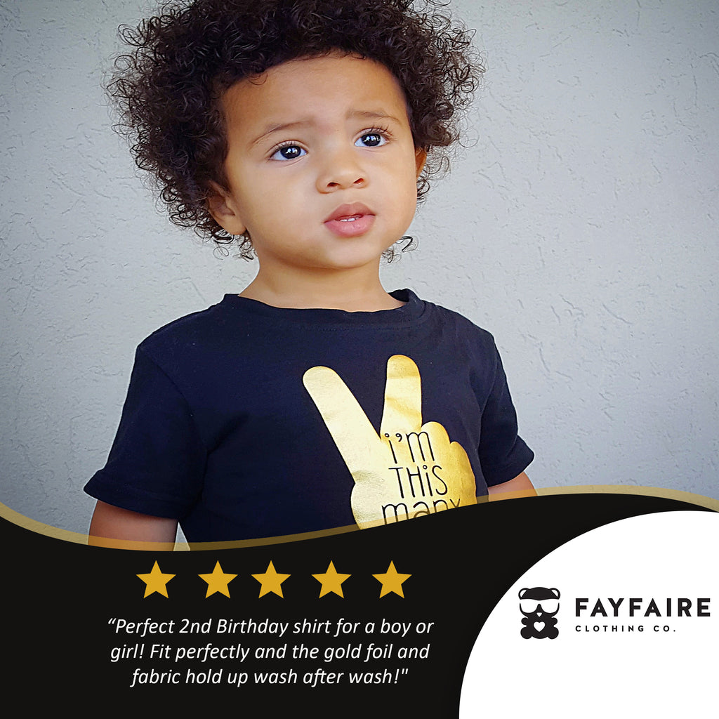 This many 2 yr toddler birthday t shirt black gold