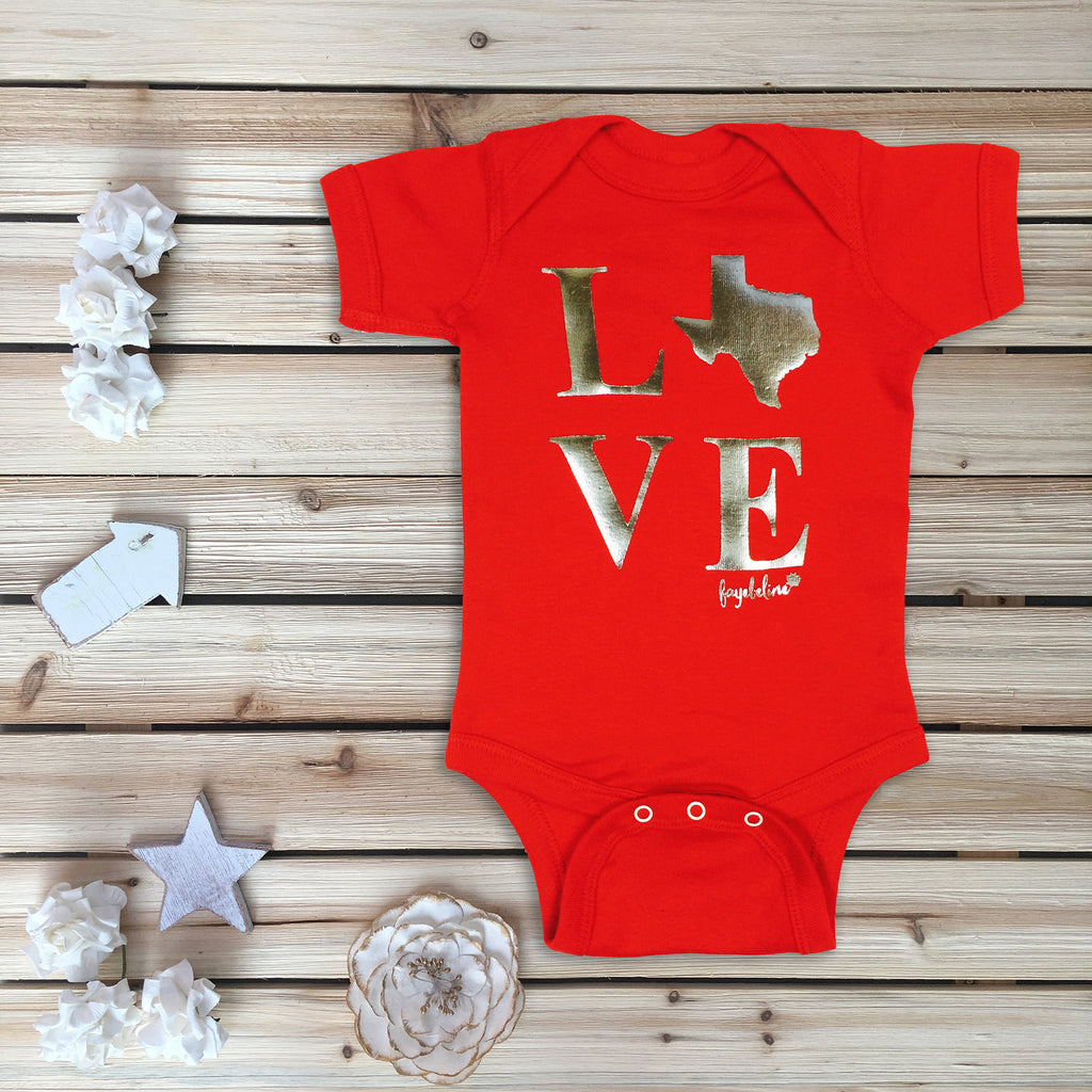 """Texas Love"" Baby Bodysuit, Silver Foil Printing"