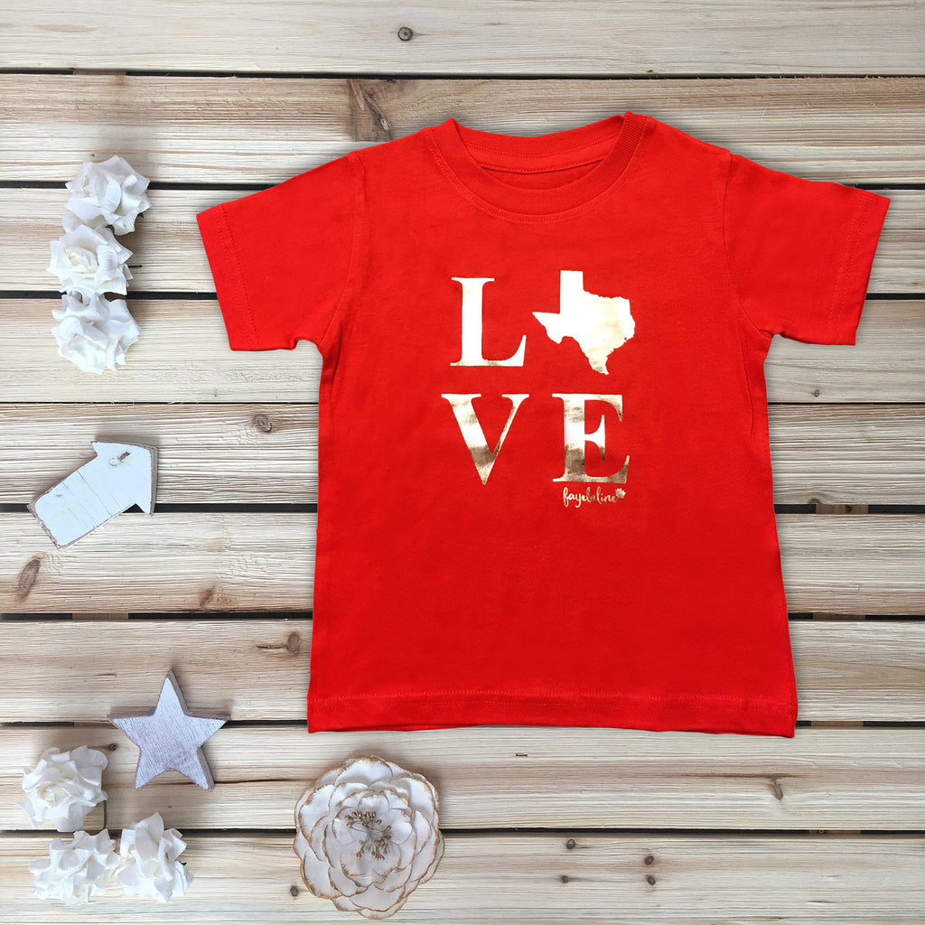 """Texas Love"" Toddler T-shirt, Red & Silver Foil"