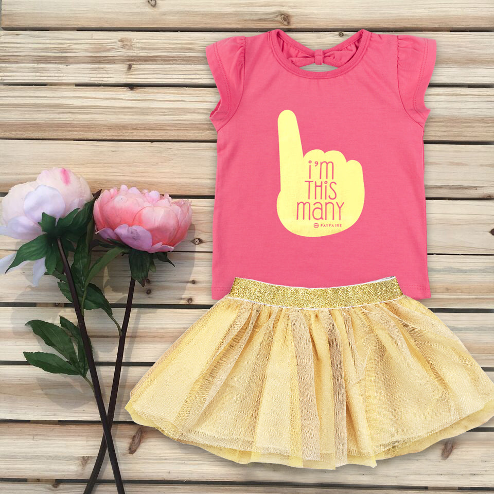 """This Many 1"" Pink T-Shirt & Gold Tutu Outfit"