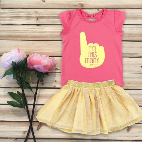 """This Many 1"" Black T-Shirt & Gold Tutu Outfit"